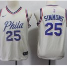 Youth 76ers #25 Ben Simmons Basketball Jersey Beige