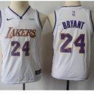 Youth Lakers 24 Kobe Bryant White Basketball Jersey