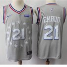 Mens 76ers #21 Joel Embiid Basketball Jersey Gray NEW