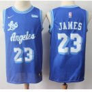 Mens Lakers 23# Lebron James basketball jersey powder blue throwback