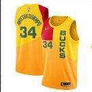 New Milwaukee Bucks City Edition No. 34 Giannis Antetokounmpo Letter Brothers Gradient Yellow S-2XL