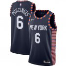 Men's New York Knicks 6 Kristaps Porzingis Basketball Jersey Blue New