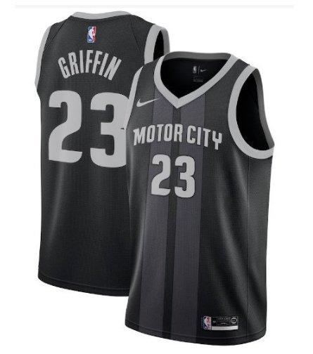 Mens Pistons #23 Blake Griffin Jersey Black Stripe City Edition