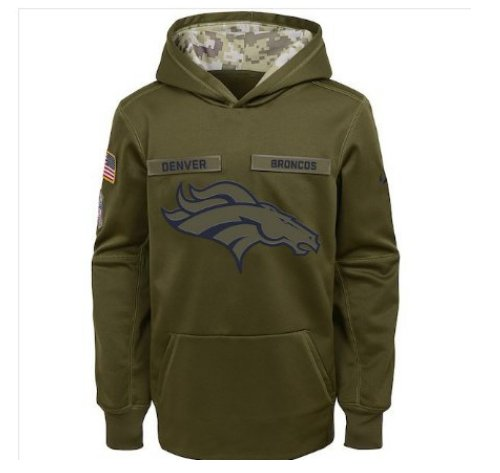 Youth Denver Broncos Salute to Service Jersey Pullover Hoodie � Olive