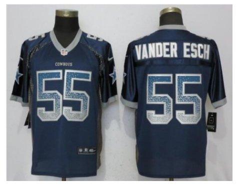 Mens Dallas Cowboys #55 Leighton Vander Esch Fashion drift Football jersey Navy
