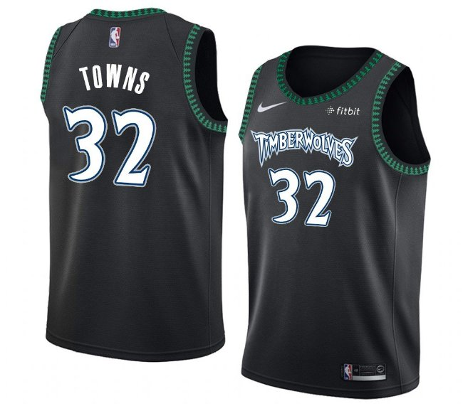 Men's Timberwolves #32 Karl-Anthony Towns Jersey Black Throwback