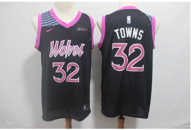 Men's Timberwolves #32 Karl-Anthony Towns Jersey Purple City Edition