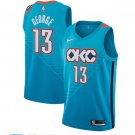 Men's OKC Thunder #13 Paul George Blue Jersey City Edition