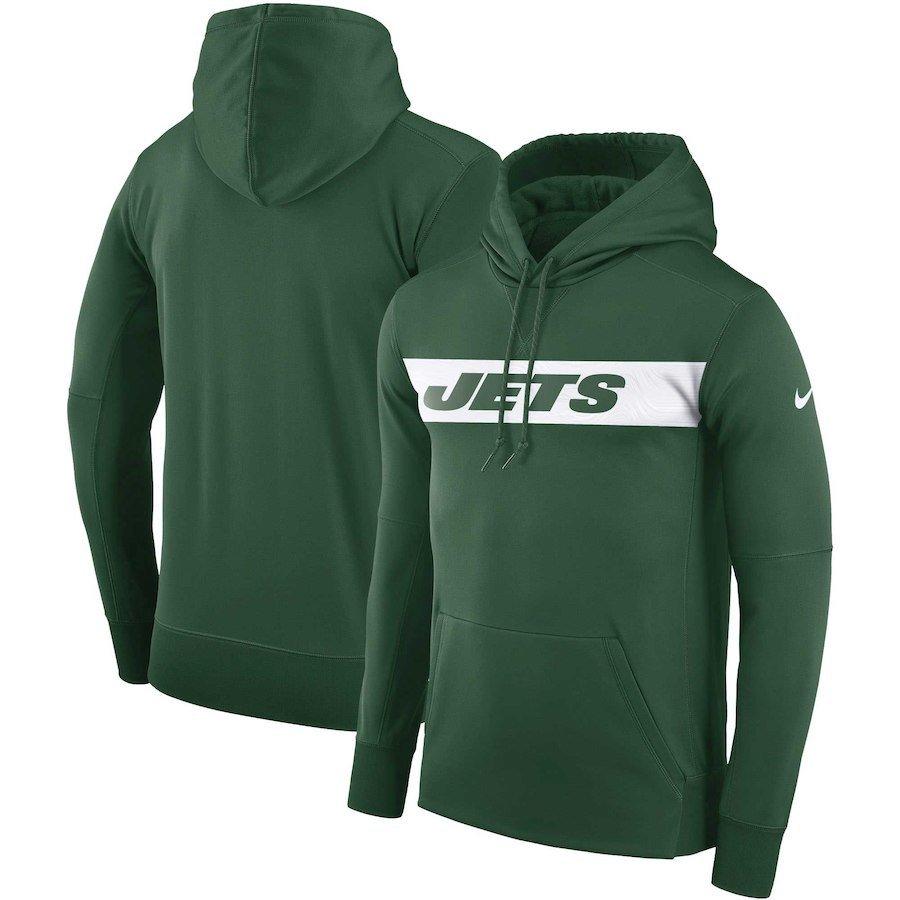 Men's New York Jets Sideline Team Performance Pullover Hoodie � Green