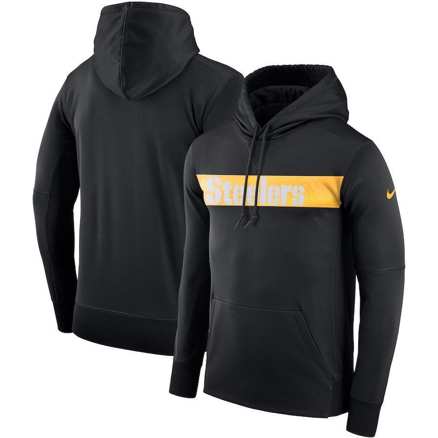 Men's Pittsburgh Steelers Sideline Team Performance Pullover Hoodie � Black Free Shipping
