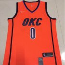 Men's Thunder #0 Russell Westbrook Basketball Jersey Orange Playoff Award Edition.