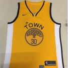 Men's Warriors #30 Stephen Curry Basketball Jersey Yellow Playoff Award Edition.