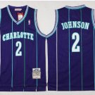 Men's Charlotte Hornets 2# Larry Johnson Blue Basketball Jersey