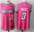 Men's Miami Heat #3 Authentic Wade Basketball Jersey Pink 2019