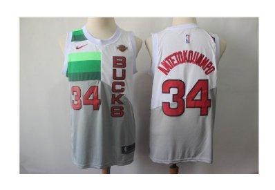Men's Bucks #34 Giannis Antetokounmpo Jersey White Earned Edition New
