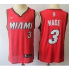 Men's Miami Heat #3 Authentic Wade Basketball Jersey Red 2018