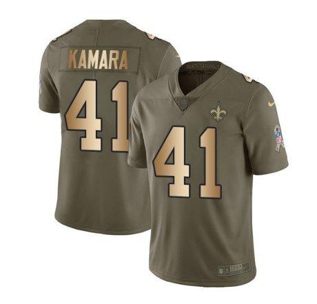 New Orleans Saints #41 Alvin Kamara Olive Gold Men's Limited Jersey