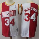 Mens Rockets #34 Hakeem Olajuwon Basketball Jersey White-Red Throwback New