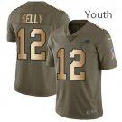 Youth Buffalo Bills #12 Jim Kelly Olive Gold Stitched Limited Jersey