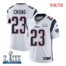 Patriots #23 Patrick Chung Youth Road White Stitched Jersey Super Bowl LIII