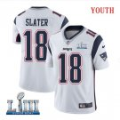 Patriots #18 Matthew Slater Youth Road White Stitched Jersey Super Bowl LIII