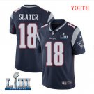 Patriots #18 Matthew Slater Youth Home Navy Blue Stitched Jersey Super Bowl LIII