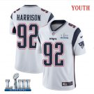 Patriots #92 James Harrison Youth Road White Stitched Jersey Super Bowl LIII