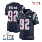 Patriots #92 James Harrison Youth Home Navy Blue Stitched Jersey Super Bowl LIII