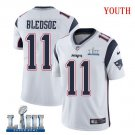 Patriots #11 Drew Bledsoe Youth Road White Stitched Jersey Super Bowl LIII