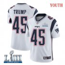 Patriots #45 Donald Trump Youth Road White Stitched Jersey Super Bowl LIII