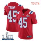 Patriots #45 Donald Trump Youth Alternate Red Stitched Jersey Super Bowl LIII