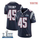 Patriots #45 Donald Trump Youth Home Navy Blue Stitched Jersey Super Bowl LIII