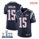 Patriots #15 Chris Hogan Youth Home Navy Blue Stitched Jersey Super Bowl LIII