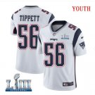 Patriots #56 Andre Tippett Youth Road White Stitched Jersey Super Bowl LIII