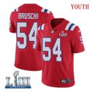 Patriots #54 Tedy Bruschi Youth Alternate Red Stitched Jersey Super Bowl LIII