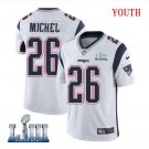 Patriots #26 Sony Michel Youth Road White Stitched Jersey Super Bowl LIII