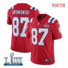 Patriots #87 Rob Gronkowski Youth Alternate Red Stitched Jersey Super Bowl LIII