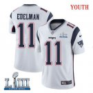 Patriots #11 Julian Edelman Youth Road White Stitched Jersey Super Bowl LIII