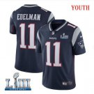 Patriots #11 Julian Edelman Youth Home Navy Blue Stitched Jersey Super Bowl LIII