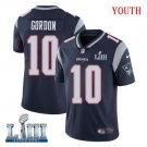 Patriots #10 Josh Gordon Youth Home Navy Blue Stitched Jersey Super Bowl LIII