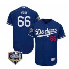 Men's Los Angeles Dodgers #66 Yasiel Puig 2018 World Series Blue