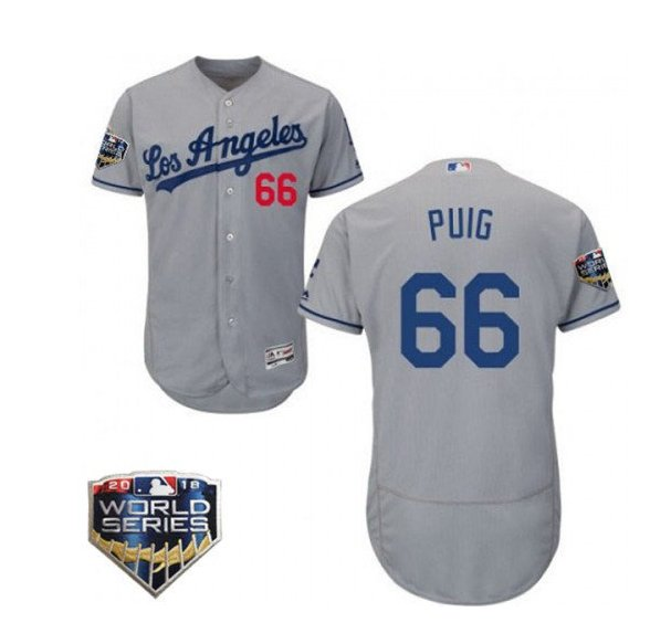 Men's Los Angeles Dodgers #66 Yasiel Puig 2018 World Series Grey