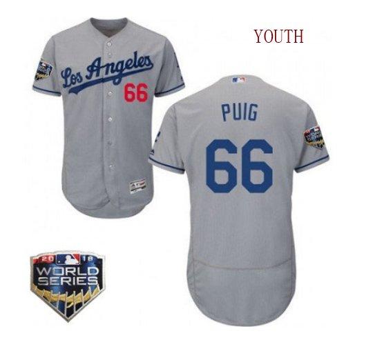 Youth Los Angeles Dodgers #66 Yasiel Puig 2019 World Series Grey