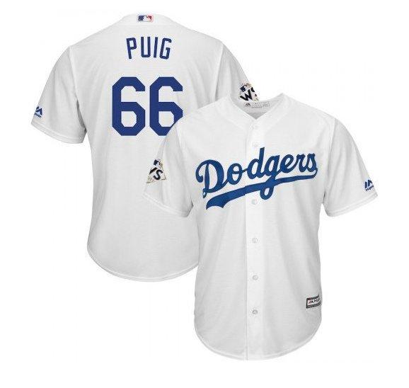 Men World Series Los Angeles Dodgers #66 Yasiel Puig Cool Base Jersey
