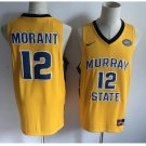 Men's Murray State College 12# Ja Morant Yellow Jersey NCAA