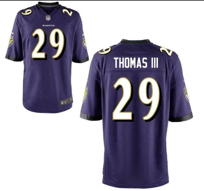 Men's Earl Thomas III Baltimore Raves purple game jersey stitched