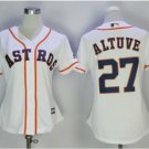 Women's Houston Astros #27 Jose Altuve White Embroidered Jersey