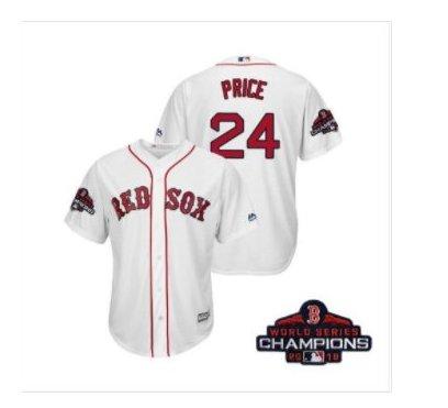 Men's Red Sox White #24 David Price 2018 World Series Champions Jersey