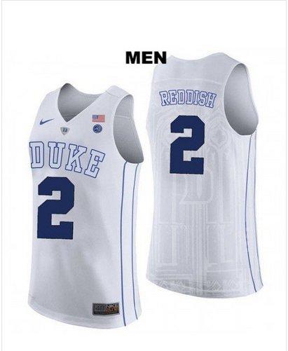Men's Duke #2 Cameron Reddish White College Basketball Jersey stitched