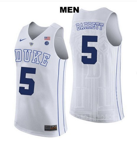 Men's RJ Barrett #5 Duke Devils college jersey White stitched